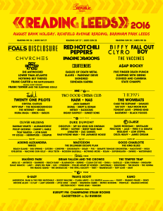 Lineup poster for Reading and Leeds 2016